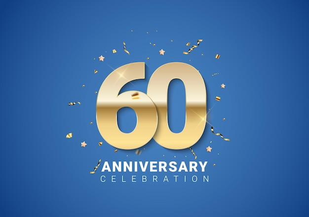 Fond de 60 anniversaires avec nombres d'or, confettis, étoiles sur fond bleu clair. illustration vectorielle eps10