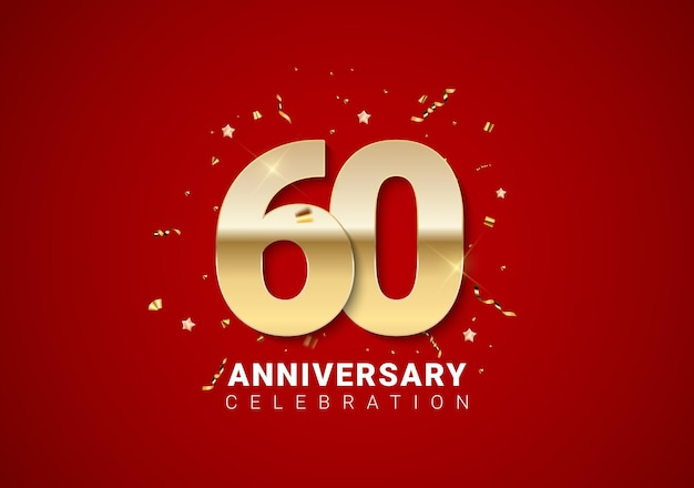 Fond de 60 anniversaires avec nombres d'or, confettis, étoiles sur fond de vacances rouge vif. illustration vectorielle eps10
