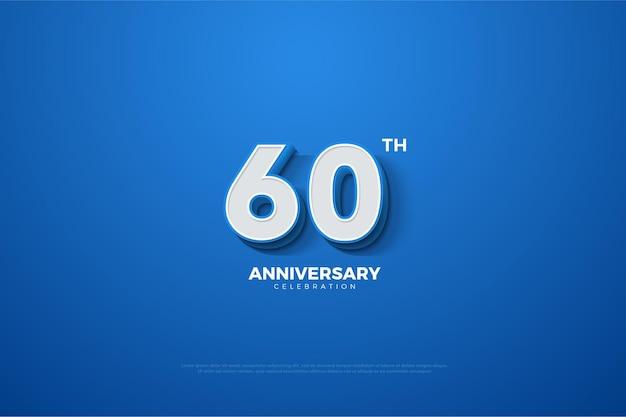 Fond De 60e Anniversaire Avec Des Nombres Dimensionnels 3d Qui Surviennent. Vecteur Premium