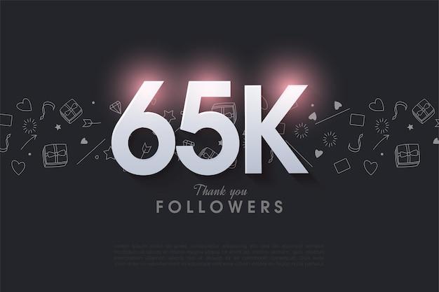 Fond de 65 000 abonnés avec des nombres 3d