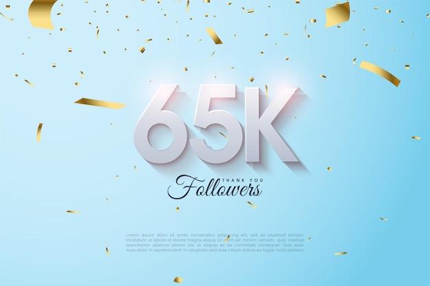 Fond de 65 000 abonnés avec des numéros 3d délavés