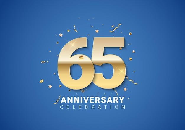 Fond de 65 anniversaire avec des étoiles de confettis de nombres dorés sur fond bleu clair