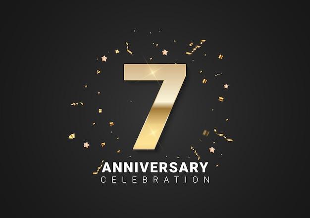 Fond de 7 anniversaires avec nombres d'or, confettis, étoiles sur fond de vacances noir brillant. illustration vectorielle