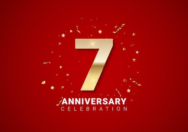 Fond de 7 anniversaires avec nombres d'or, confettis, étoiles sur fond de vacances rouge vif. illustration vectorielle eps10