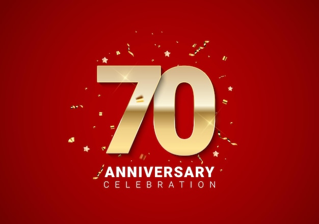 Fond de 70 anniversaire avec nombres d'or, confettis, étoiles sur fond de vacances rouge vif. illustration vectorielle eps10