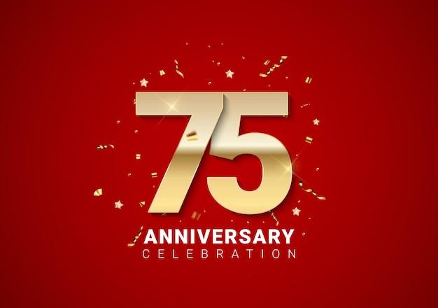 Fond de 75 anniversaire avec nombres d'or, confettis, étoiles sur fond de vacances rouge vif. illustration vectorielle eps10