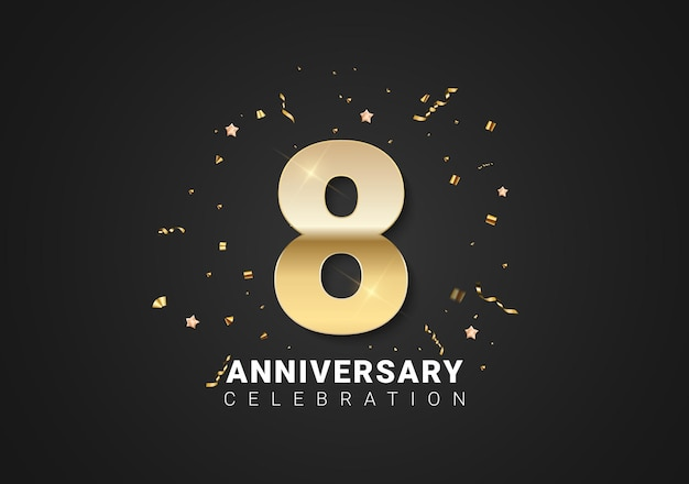 Fond de 8 anniversaires avec nombres d'or, confettis, étoiles sur fond noir clair. illustration vectorielle