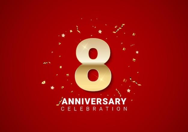 Fond de 8 anniversaires avec nombres d'or, confettis, étoiles sur fond de vacances rouge vif. illustration vectorielle eps10