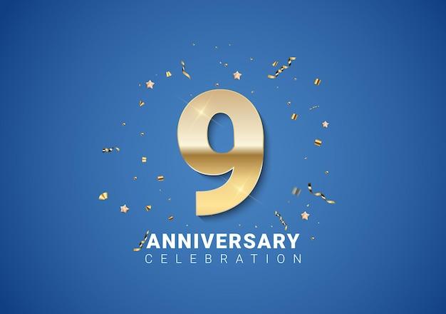 Fond de 9 anniversaires avec nombres d'or, confettis, étoiles sur fond bleu clair. illustration vectorielle eps10