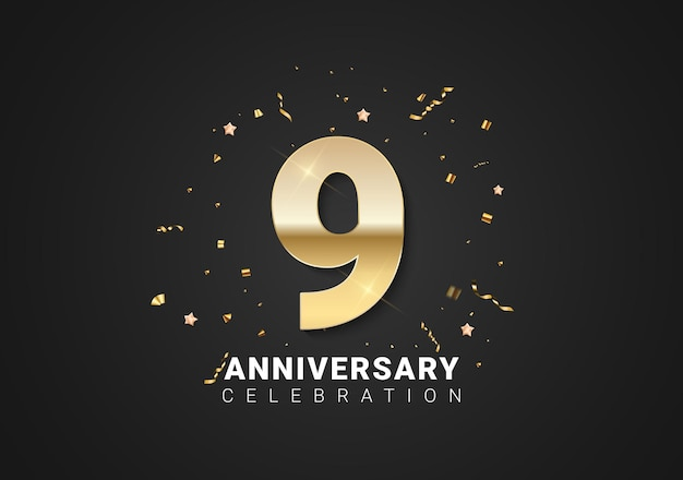 Fond de 9 anniversaires avec nombres d'or, confettis, étoiles sur fond de vacances noir brillant. illustration vectorielle
