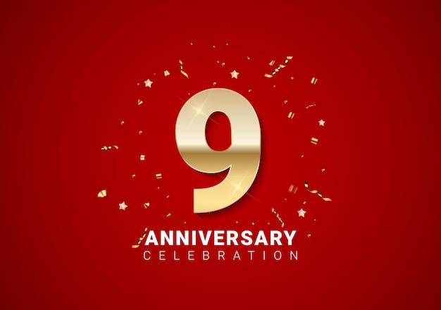 Fond de 9 anniversaires avec nombres d'or, confettis, étoiles sur fond de vacances rouge vif. illustration vectorielle eps10