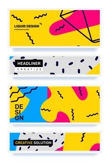 Fond d'abstraction rétro entreprise avec ensemble de forme d'en-tête de couleur créative