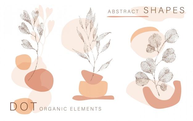 Fond abstrait affiche formes minimales, demi-ton laisse des éléments de conception de points, feuille. impression d'art doodlies, formes en terre cuite.