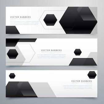 Fond abstrait de bannières en-tête hexagonal noir