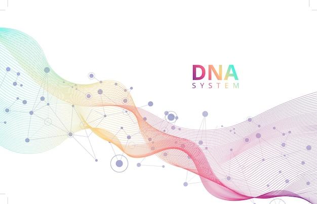 Fond abstrait blanc avec système génique de molécules d'adn science médicale biotechnologie génétique chimie biologie