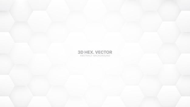 Fond abstrait blanc technologique 3d hexagones
