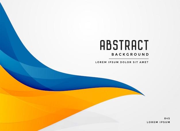 Fond abstrait bleu et jaune de forme ondulée