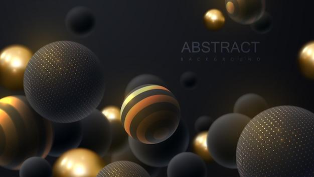 Fond abstrait bulles dorées et noires