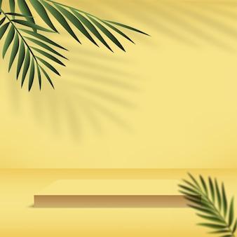 Fond abstrait avec la couleur jaune, le podium 3d géométrique et le palmier