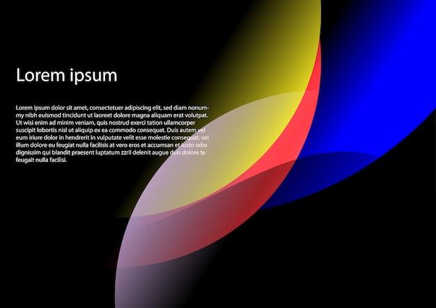 Fond abstrait courbe dans les tons rouge, bleu, jaune et violet avec espace de copie pour votre