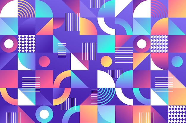Fond abstrait dégradé avec différentes formes