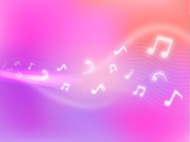 Fond abstrait dégradé ondulé avec des notes de musique à effet de lumière.