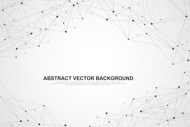 Fond abstrait du plexus avec des lignes et des points connectés. effet géométrique du plexus big data avec des composés. lignes plexus, tableau minimal. visualisation des données numériques. illustration vectorielle.