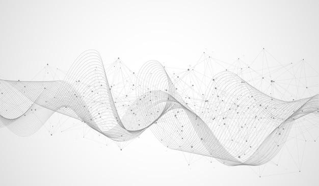 Fond abstrait du plexus avec des lignes et des points connectés. effet géométrique du plexus. visualisation des données numériques. élément low-poly de style technologique futuriste pour la conception. illustration vectorielle.