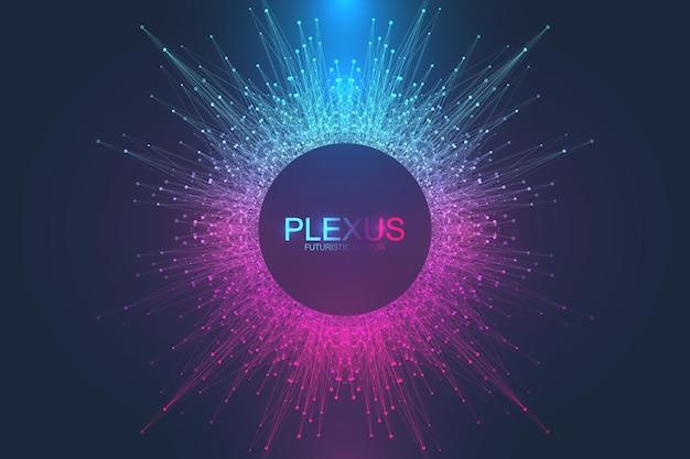 Fond abstrait du plexus avec des lignes et des points connectés. visualisation des mégadonnées. fond de molécule et de communication. arrière-plan graphique pour votre conception. illustration vectorielle visuelle des lignes du plexus.