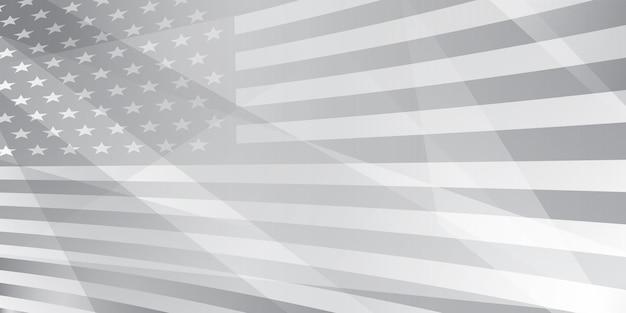 Fond abstrait de la fête de l'indépendance des états-unis avec des éléments du drapeau américain en couleurs grises