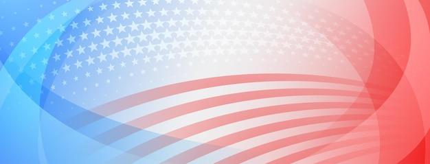 Fond abstrait de la fête de l'indépendance des états-unis avec des éléments du drapeau américain dans les couleurs rouge et bleu