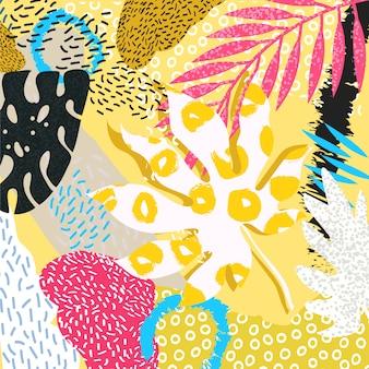 Fond abstrait feuilles tropicales