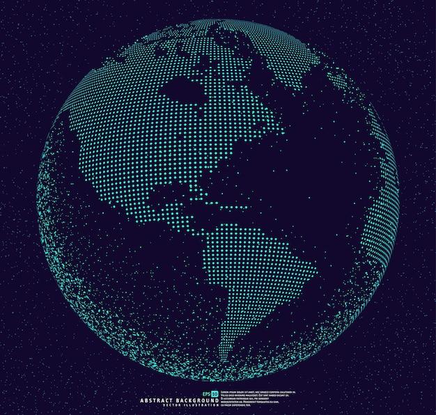 Fond abstrait globe 3d en pointillé