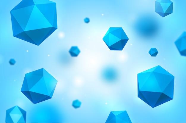 Fond abstrait hexagone bleu