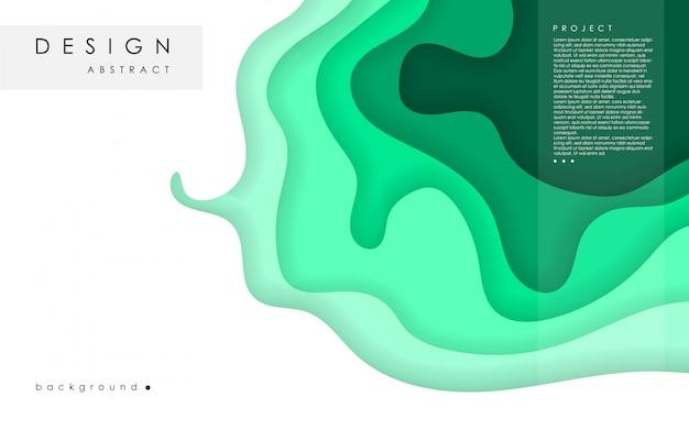 Fond abstrait horizontal et papier découpé des formes. modèle de texte