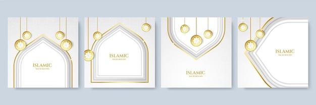 Fond abstrait islamique or blanc. mandala de luxe avec fond de style oriental islamique arabe royal arabesque d'or