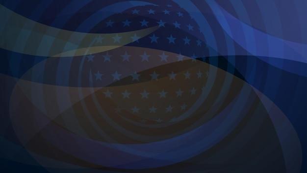Fond abstrait de jour de l'indépendance avec des éléments du drapeau américain dans des couleurs bleu-foncé