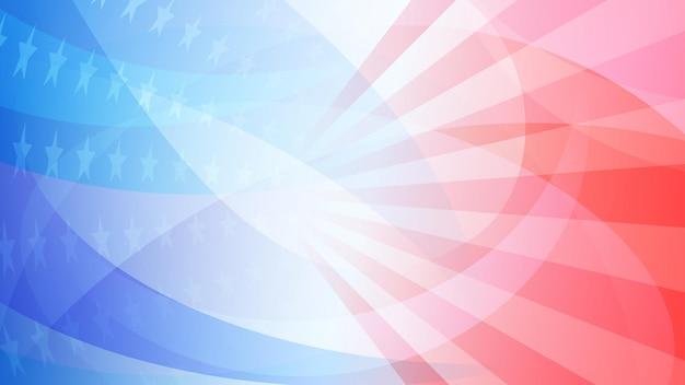 Fond abstrait de jour de l'indépendance avec des éléments du drapeau américain dans des couleurs rouges et bleues