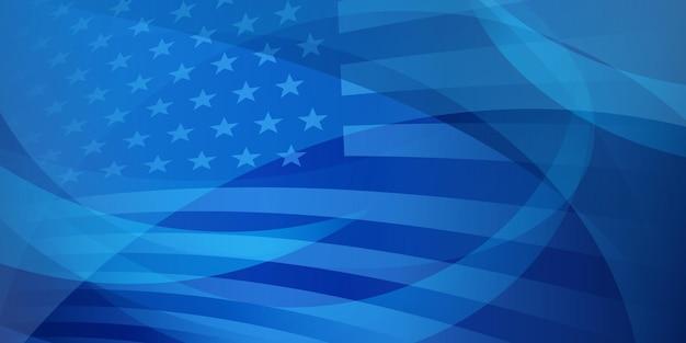 Fond abstrait de jour de l'indépendance des etats-unis avec des éléments du drapeau américain dans des couleurs bleues
