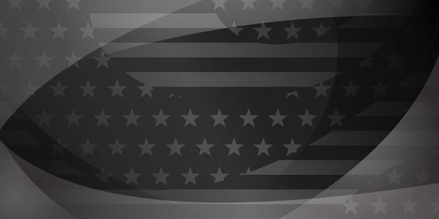 Fond abstrait de jour de l'indépendance des etats-unis avec des éléments du drapeau américain dans des couleurs grises et noires