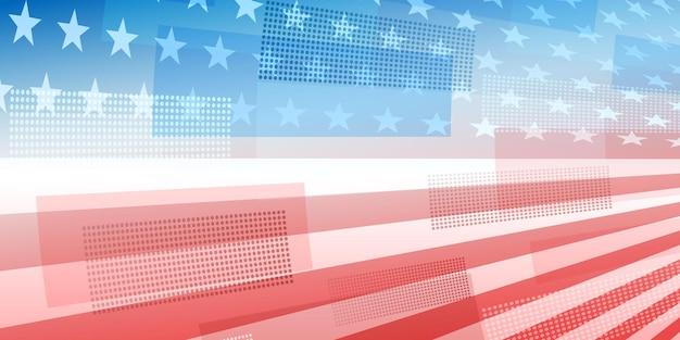 Fond abstrait de jour de l'indépendance des etats-unis avec des éléments du drapeau américain dans des couleurs rouges et bleues
