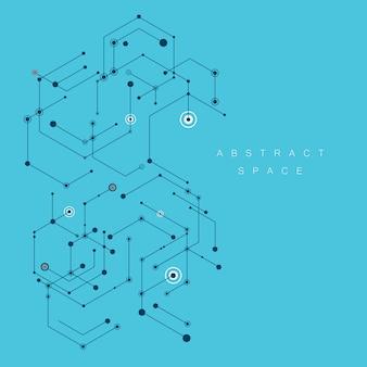 Fond abstrait ligne noire hexagone