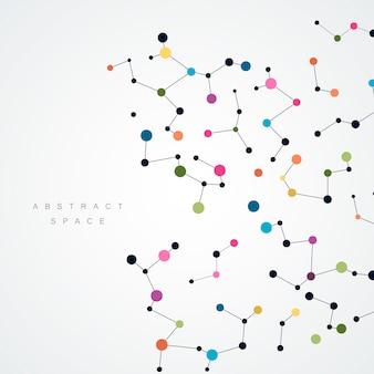 Fond abstrait avec ligne et points connectés