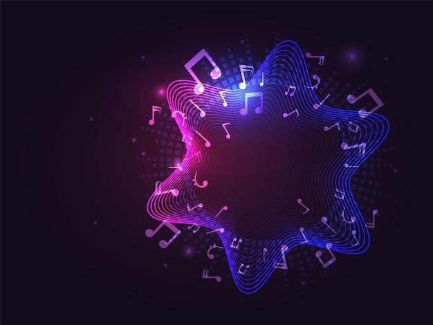 Fond abstrait de lignes ondulées dégradé avec des notes de musique et des barres de son.