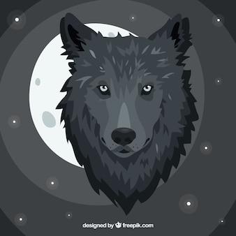 Fond abstrait avec loup et lune