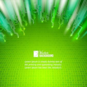 Fond abstrait de lumières vertes.