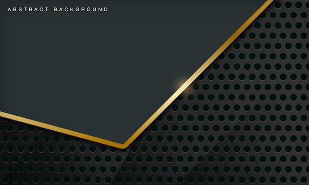 Le fond abstrait de luxe vert se combine avec l'élément de lignes dorées et le motif de cercle
