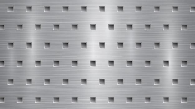 Fond abstrait en métal avec des trous carrés dans des couleurs grises