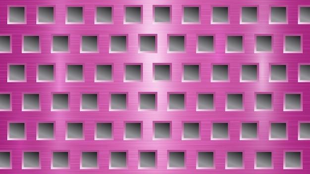 Fond abstrait en métal avec des trous carrés dans des couleurs roses et grises