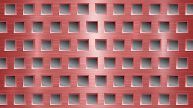 Fond abstrait en métal avec des trous carrés dans des couleurs rouges et grises